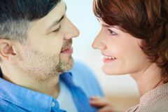 Closeness. Portrait of tender couple looking at one another Royalty Free Stock Photo