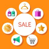 Closeout, color illustration, flat. Royalty Free Stock Photo