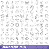 100 closeout icons set, outline style. 100 closeout icons set in outline style for any design vector illustration stock illustration