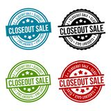 Closeout Sale Round Stamp Collection. Eps10 Vector Badge vector illustration