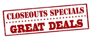 Closeouts specials great deals. Stamp with text closeouts specials great deals inside,  illustration Royalty Free Stock Images