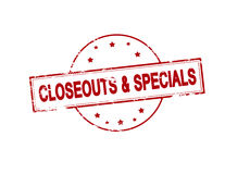 Closeouts and specials. Rubber stamp with text closeouts and specials inside, vector illustration Royalty Free Stock Photo