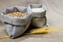 Closep canvas sack of seed Stock Photos