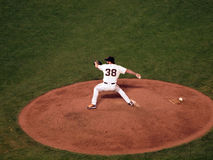 Closer Brian Wilson steps forward to throw pitch Stock Image