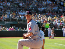 Closer Jonathan Papelbon warms up in bullpen. Red Sox vs. A's: Red Sox closer Jonathan Papelbon warms up in bullpen. September 12 2010 Coliseum Oakland stock photos