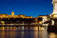 Closer look of Buda Castle and Chain Bridge, Budapest, Hungary. Blue hour shot of Buda Castle and Chain Bridge, Budapest, Hungary, Europe, EU royalty free stock photography