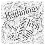 A Closer Look At Radiology Technician Jobs word cloud concept background. Text stock illustration