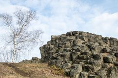 Closer look at rock formation with the abstract look of Goethe`s head - Goethekopf / Großer Stein in Germany. Saxony, Lusatian Highlands Stock Image