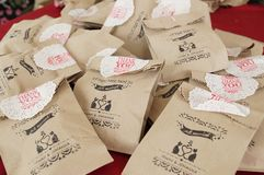 A closer look to the homemade goodies bag. Sugars chocolate cake pickles love to give to others stock photography