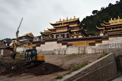 Closer to the main temple in Serti Gompa in Langmusi that`s been. Being developed. Pic was taken in Amdo Tibet, September 2017 Royalty Free Stock Photo