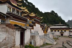 Closer to the main temple in Serti Gompa in Langmusi that`s been. Being developed. Pic was taken in Amdo Tibet, September 2017 Stock Photography