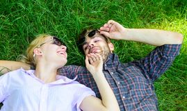 Closer to nature. Couple in love united with nature. Nature fills them with freshness and inspiration. Man unshaven and stock images