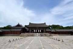 Closer to the wooden temple around Seoul Eastern Palace Changde Stock Photo