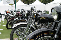 Closer up British classic motorcycle lineup Royalty Free Stock Images