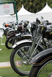 Closer up British classic motorcycle lineup Stock Photo