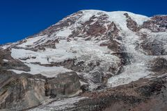 Closer up view of Mount Rainier Mountain royalty free stock photography