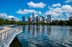 Free Closer View Austin Texas Riverside Pedestrian Bridge Town Lake Reflections On The Water Stock Photography - 76676992