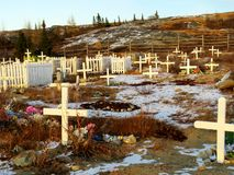 Closer view of the cemetery in Kuujjuaq. With the mountains in the background stock photography
