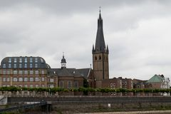 Closer view on the church at the rhine river in düsseldorf germany. And photographed during a sightseeing boat tour on the rhine river in düsseldorf stock photo