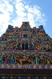 Closer View The sri veeramakaliamman temple front serangoon road singapore. Closer view of the corner of the gate house or Gopuram of the sri veeramakaliamman royalty free stock photo
