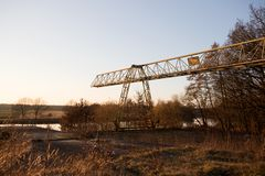Closer view on a crane and the natural landscape in fresenburg emsland germany. Photographed on end during a walk in the nature on a sunny late afternoon royalty free stock images