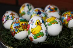 Closer view on an easter egg with duck stock photography
