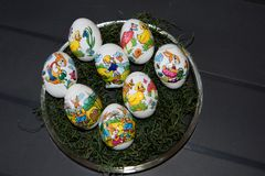 Closer view on easter eggs royalty free stock photography