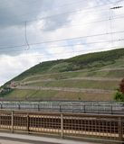 Closer view on the railway and the hill in bingen am rhein in hessen germany royalty free stock photo