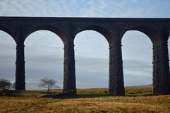 Closer view of the Ribblehead Viaduct with trees between the arches. Closer view of the Ribblehead Viaduct Yorkshire Dales National Park taken from the eastern stock photo
