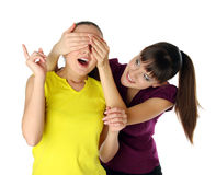 She closes the other girl's eyes Stock Images