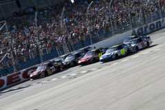 Closest finish in NASCAR history Aaron's 499. TALLADEGA, AL - APR 17, 2011: Jimmie Johnson wins the Aaron's 499 with the Closest finish in NASCAR history at the royalty free stock photography