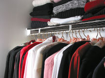 Closet with clothes Royalty Free Stock Photos