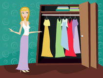 Closet of Clothes - Blonde. Woman looking through her closet at clothes - figuring out what to wear Royalty Free Illustration