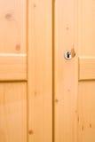 Closet door. Closet wooden door with metal keys. Detail stock images