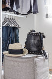 Closet with hat and bag Stock Photo