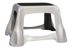 Closet Stool. Sturdy Plastic Rubberized Grey Stool; isolated, clipping path included stock photos