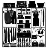 Closet Wardrobe Cupboard for Man Woman Fashion. A set of silhouette representing the closet of a man and a woman Royalty Free Stock Image