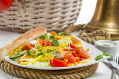 Closeu of healthy salmon salad made of fresh vegetables Stock Photos