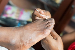 Closeu-up di un piede dei woman's Fotografie Stock Libere da Diritti