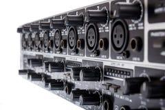 Closeuo av den dubbla bussen Mic Line Zone Mixer för kanal 3 för ULTRAZONE 8 Arkivfoton