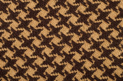 Closeuo on brown houndstooth wool pattern. Royalty Free Stock Images