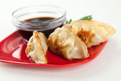 Closeuo of Fried Pot stickers Royalty Free Stock Image