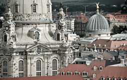Closeuop on Frauenkirche and roofs of Dresden Stock Photography