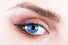 Closeupögonbryn och blått öga Kvinna med mjuk slät sund hud och glamorös yrkesmässig ansikts- makeup _ royaltyfri bild