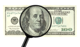 Closeup of $100 banknote Stock Images