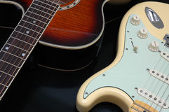 Closeup of 2 guitars Stock Photos