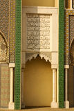 Closeup of 3 Ornate Brass and Tile Doors to Royal Palace in Fez, Royalty Free Stock Photos