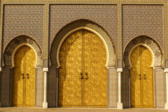 Closeup of 3 Ornate Brass and Tile Doors to Royal Palace in Fez, Royalty Free Stock Photo