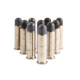 Closeup .38 bullet. Closeup image of .38 bullet isolated on white background Stock Photography