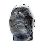 Closeup of 3d Head on white background. Face grid symbolizing Cloning Or Facial Reconstruction Stock Image